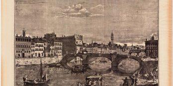 Χαρακτικό μεγάλου μεγέθους του 1754, Άποψη ενός τμήματος του Lungarno και της Ponte a S. Triinita του  Giuzeppe Zocchi.