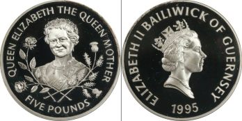 1995 Guernsey Queen Mother 95th Birthday £5 Five Pound Silver Proof Coin