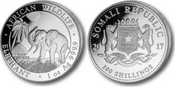 """2017 * 100 Shillings Silver 1 OZ Somalia """"Elephant """""""