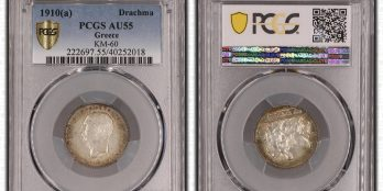 Greece, 1910 Silver Drachma King George I, PCGS AU55