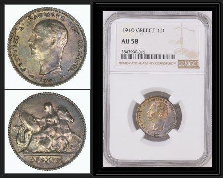 Greece-1910-Silver-Drachma-King-George-I-NGC-AU58