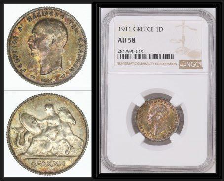 Greece-1911-Silver-Drachma-King-George-I-NGC-AU58